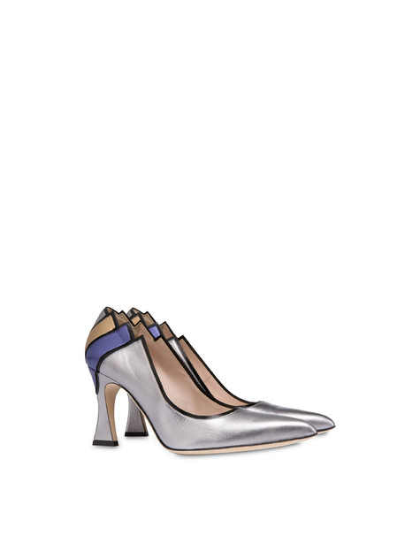 Nataly X Pollini laminated nappa leather décolleté BLACK/STEEL/VIOLET/BRONZE
