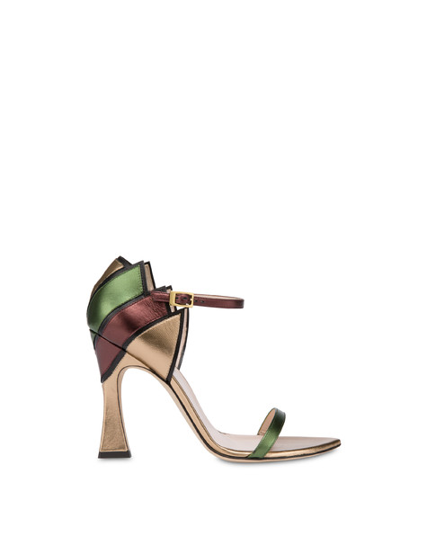 Nataly X Pollini laminated nappa leather sandals BLACK/BRONZE/COFFEE/OLIVE