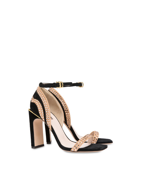 Nataly X Pollini suede sandals with rhinestones BLACK/NUDE