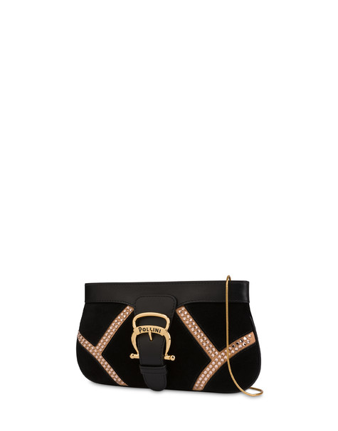 Nataly X Pollini Suede clutch bag with rhinestones BLACK/BLACK/NUDE