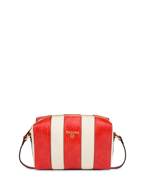 Stripe On Me canvas shoulder bag ECRU/CORAL