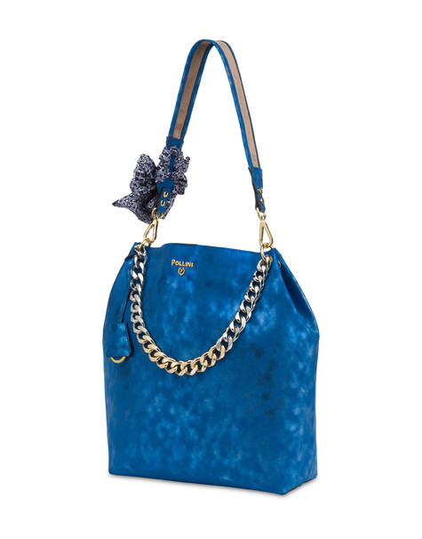 Darlene Chic laminated suede hobo bag BLUE