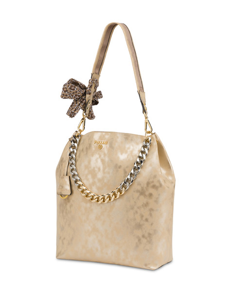 Darlene Chic laminated suede hobo bag BEIGE