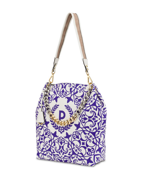 Darlene obo bag with majolica print WHITE