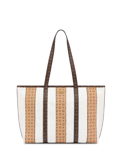 Stripe On Me shopping bag WHITE/BROWN/CREAM