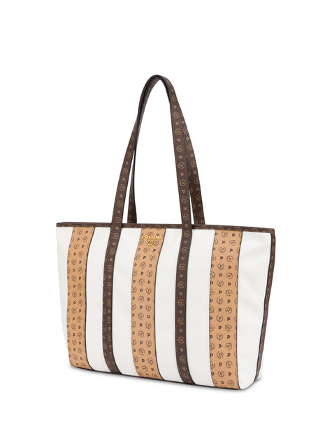 Shopping bag Stripe On me Weiß/Braun/Sahne