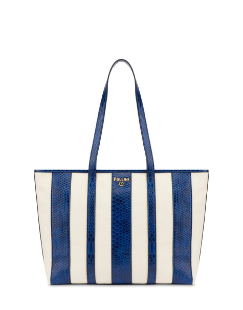 Stripe On Me canvas shopping bag ECRU/BLUE