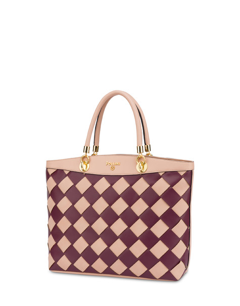 Clio Weaving tote bag NUDE/BORDEAUX/NUDE