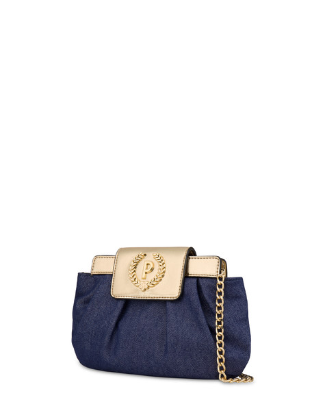 Andromeda Clutch bag in denim and laminate BLUE/GOLD