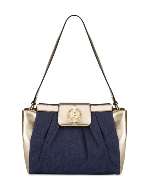 Andromeda shoulder bag in denim and laminate BLUE/GOLD