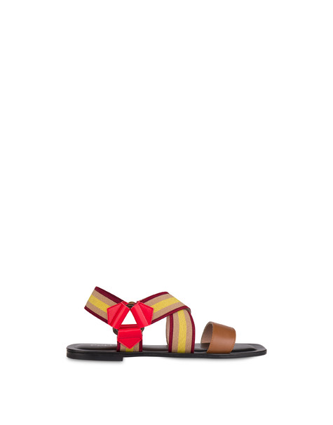 Serenissima flat elastic sandals HIDE/LAKY RED