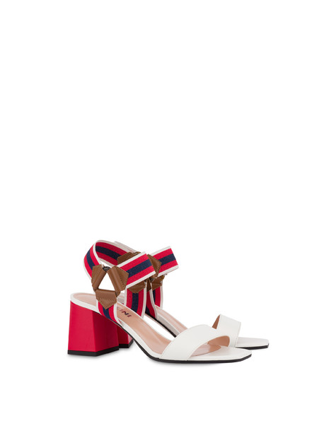 Serenissima leather sandals with elastic WHITE/HIDE/LAKY RED