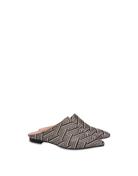 Naxos Garden raffia and lurex mules BLACK