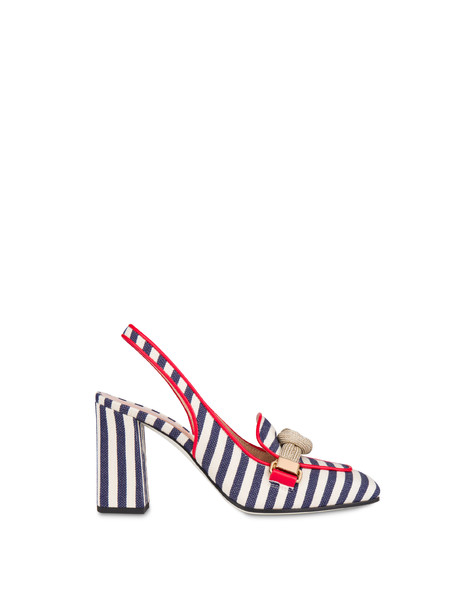 Slingback in canvas a righe Marina MEDITERRANEO-BIANCO/LACCA