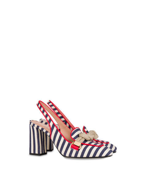 Marina striped canvas slingback MEDITERRANEAN-WHITE/LAKY RED