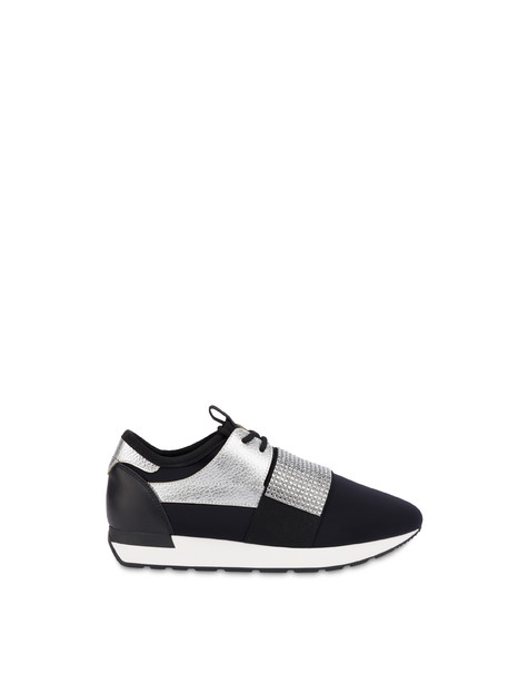 Elastic Run diamond slip-on sneakers BLACK/SILVER/BLACK