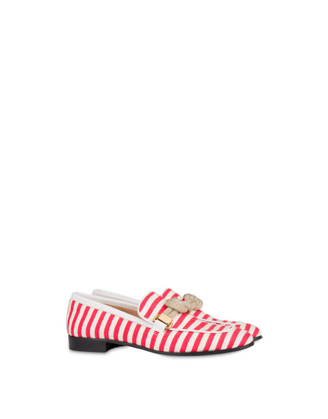 Marina striped canvas loafers LAKY RED-WHITE/WHITE