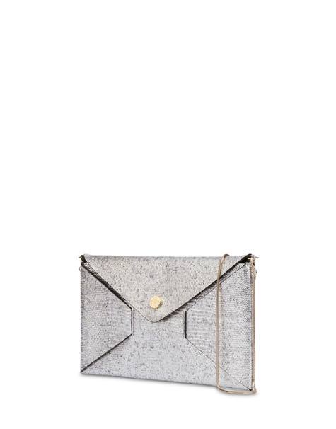 Mail clutch bag in laminated goatskin SILVER