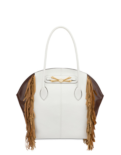 Aris double handle bag in calfskin WHITE/DARK BROWN/SAND