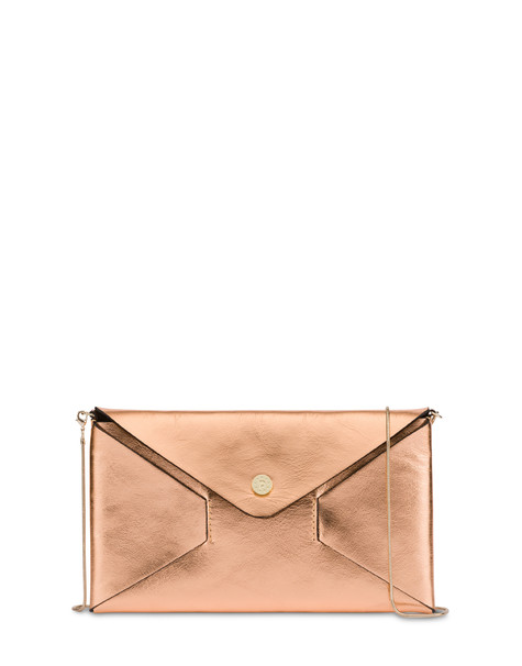 Mail pochette in laminated calfskin COPPER