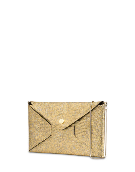 Mail clutch bag in laminated goatskin GOLD