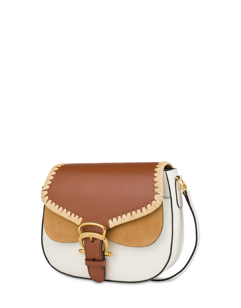 Giulietta Clamp calfskin and split leather shoulder bag WHITE/HIDE/SAND