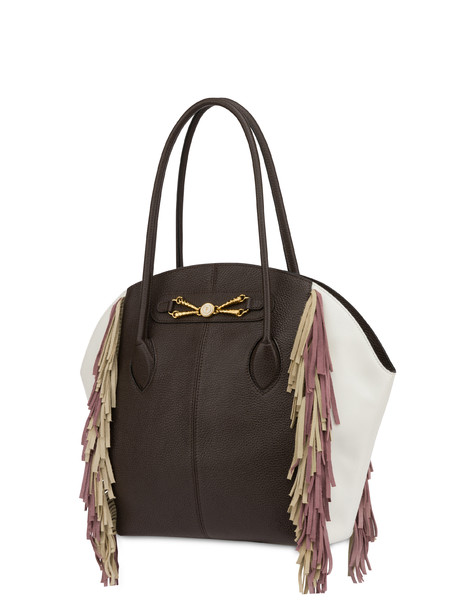 Aris double handle bag in calfskin DARK BROWN/WHITE/PLASTER-CANDY