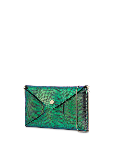 Mail pochette with iridescent python print BLUE