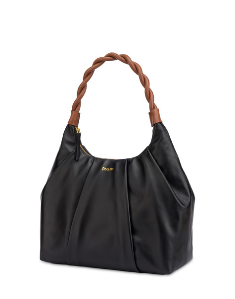 Aura hobo bag in calfskin BLACK/HIDE