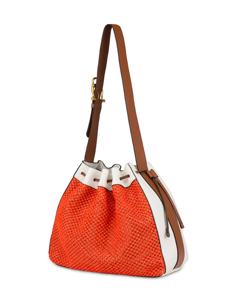 Aura bucket bag in raffia and calfskin CORAL/WHITE/HIDE