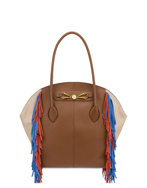 Aris double handle bag in calfskin HIDE/BEIGE/ORANGE-LIGHT BLUE