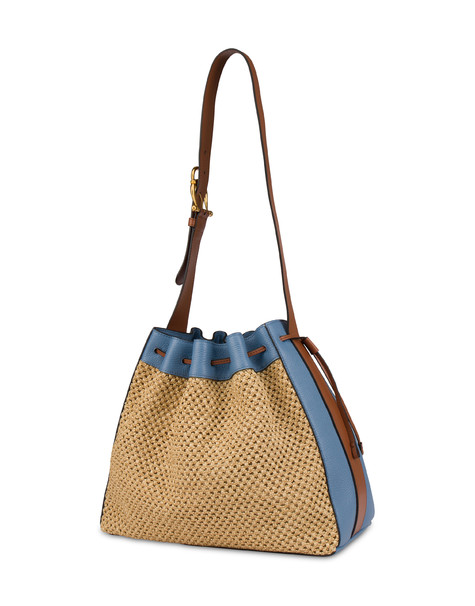 Aura bucket bag in raffia and calfskin ECRU/SKY/HIDE