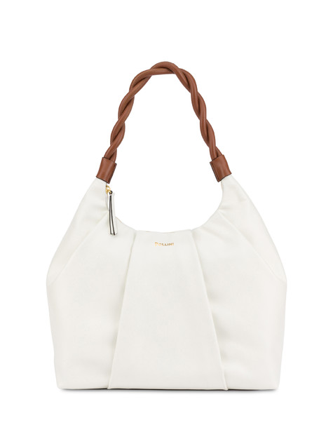 Aura hobo bag in calfskin WHITE/HIDE