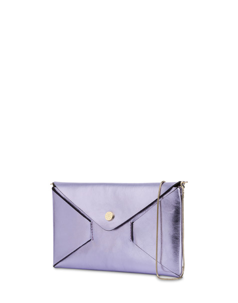 Mail pochette in laminated calfskin LILAC