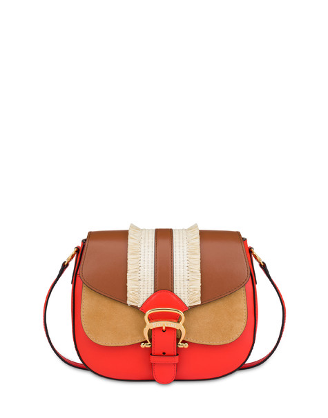 Giulietta Clamp shoulder bag with fringes CORAL/HIDE/SAND