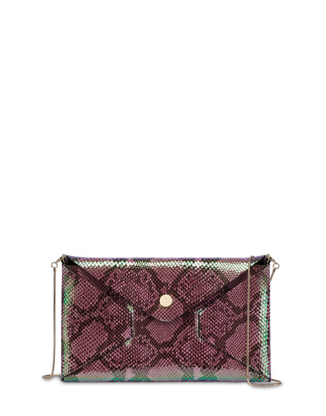 Mail pochette with iridescent python print PINK