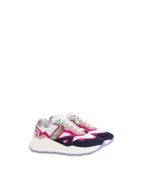 Sixteen calfskin and split-grain leather sneakers MEDITERRANEAN/QUARTZ/WHITE/FUCHSIA/LAVENDER