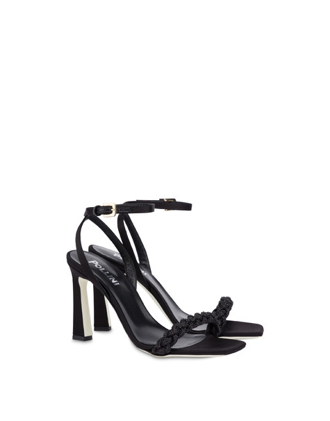 Starry Sky high satin sandals BLACK