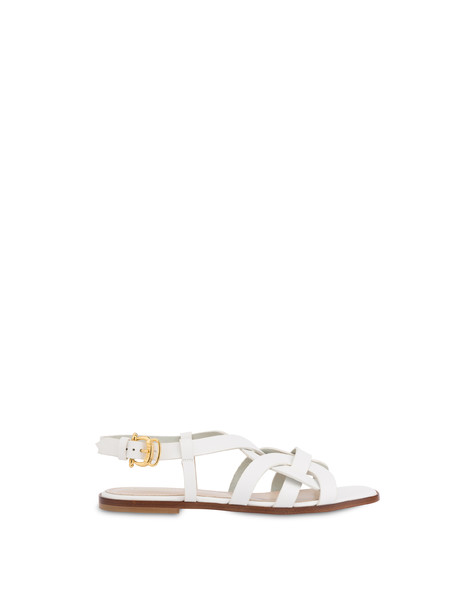 Greek Arco Wave flat cowhide sandals WHITE