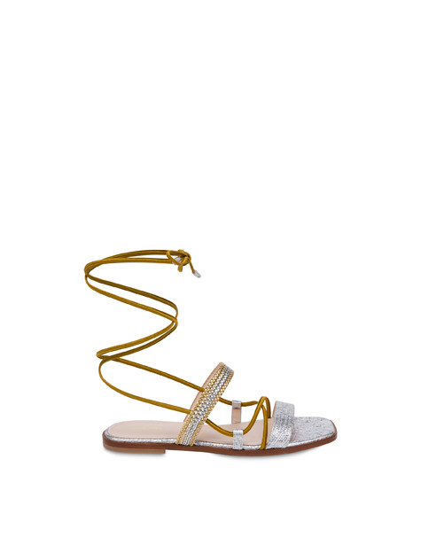 Costantinopolis flat leather sandals SILVER/GOLD-SILVER-PLATINUM