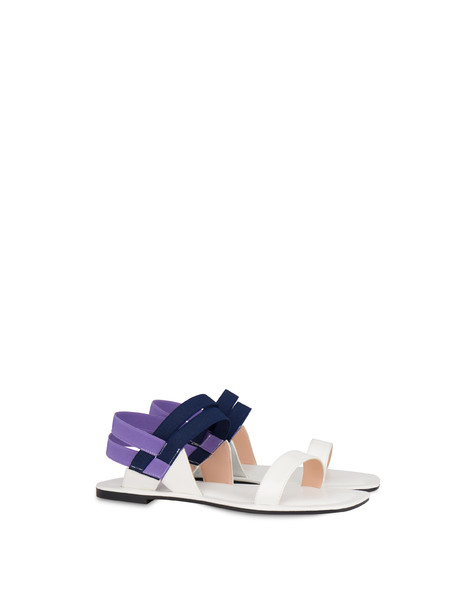 Greek Cross patent leather flat sandals WHITE