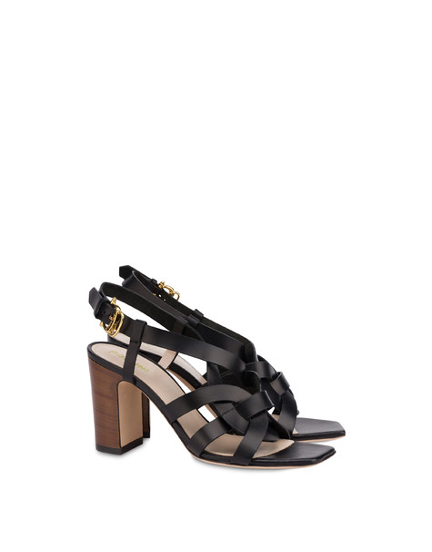 Greek Arco Wave cowhide high sandals BLACK
