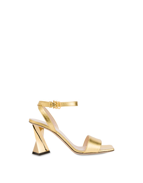 Twisted Column laminated nappa leather sandals GOLD