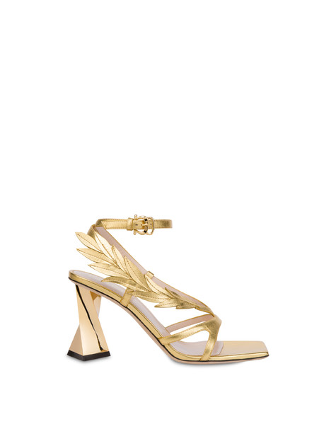 Shiny Laurel laminated nappa leather sandals GOLD