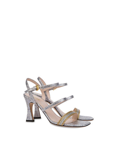 Costantinopolis Lizard print leather sandals SILVER/GOLD-SILVER-PLATINUM