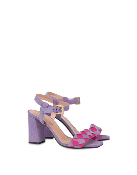 The Queen Of Chess high suede sandals LAVENDER/FUCHSIA