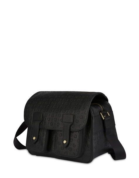 Heritage Logo Embossed multi-pocket shoulder bag BLACK