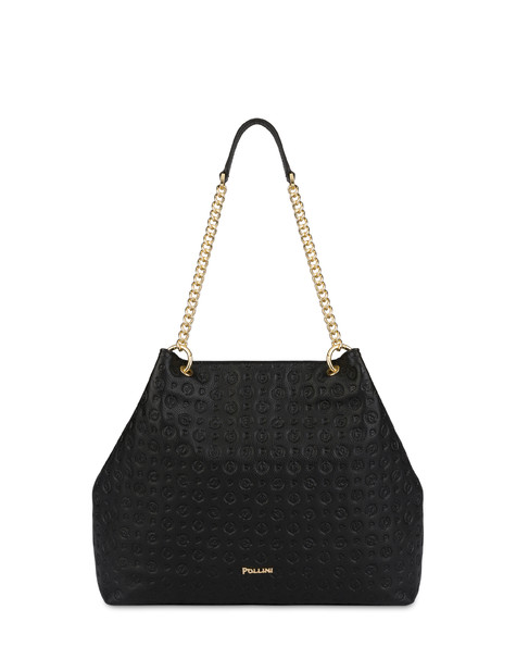 Heritage Logo Embossed hobo bag BLACK