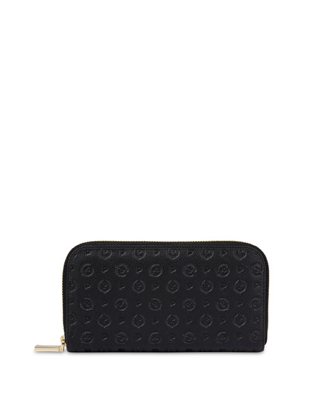Heritage Logo Embossed zipper around wallet BLACK