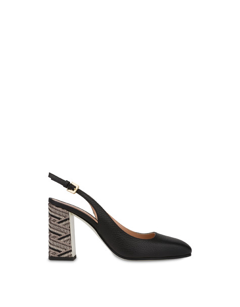 Palmes moose print leather slingbacks BLACK/BLACK
